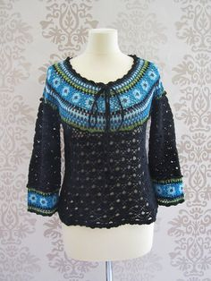 Vintage Blouse Knit Black Blue Crochet Long Sleeve by RoseVoila, $19.00