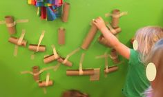 marble run out of paper towel rolls (can use pom poms as marbles)