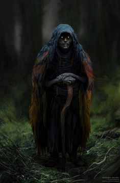 Bogflesh Crone (Source: Forest Witch – fantasy character concept by Sherbakov Stanislav) Fantasy Rpg, High Fantasy, Fantasy Artwork, Fantasy World, Fantasy Forest, Fantasy Witch, Witch Art, Fantasy Creatures, Mythical Creatures