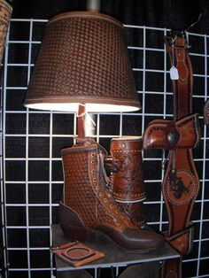 Need a leather boot-lamp? #shastaleatherworks