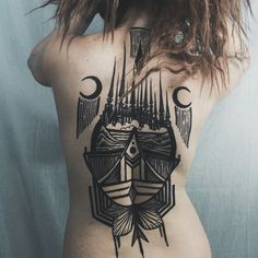 Beautiful blackwork & scrimshaw style by Houston Patton