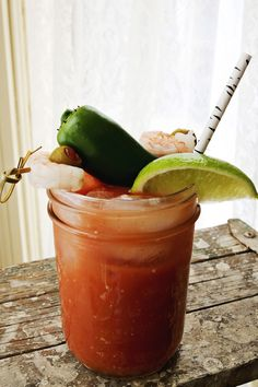 Jalapeno Bloody Mary (and let's talk about the brilliant idea of garnishing with shrimp...heck, just add a side of chilled shrimp and that's a meal)