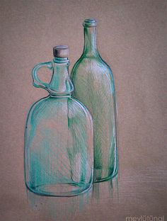 Drawing (Colour pencil on the paper in 15 minutes.) - 2008 Still Life Drawing, Still Life Art, Painting Lessons, Drawing Lessons, Color Pencil Sketch, Bottle Drawing, Artist Pencils, Chiaroscuro, Pastel Art
