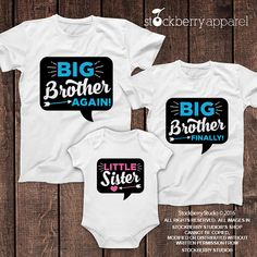 ec8ac3f47f4 Little Sister Big Brother Shirts Set of 3 - Big Brother Baby Sister Shirt -  Baby Sister Coming Home Outfit - Baby Announcement