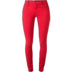 Burberry Brit Skinny Jeans (540 BRL) ❤ liked on Polyvore featuring jeans, pants, burberry, red, red jeans, skinny leg jeans, denim skinny jeans and skinny jeans