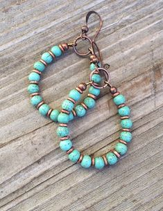 Turquoise Hoop Earrings, Copper and Turquoise Handmade Jewelry #handmadejewelry