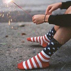 Unisex American USA Star Flag Stripes Old Glory Fashion Dress Casual Crew Socks