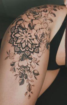 Mandala Tattoo Design, Mandala Tattoo Sleeve, Hip Tattoo Designs, Floral Mandala Tattoo, Tribal Sleeve Tattoos, Thigh Sleeve Tattoo, Floral Tattoo Design, Chest Tattoo, Flower Hip Tattoos