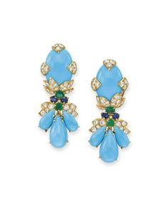 A pair of multi-gem and simulated turquoise earrings, by David Webb #christiesjewels #davidwebb