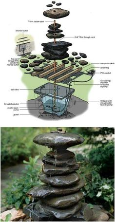 Cheap And Simple DIY Stacked Rock Garden Fountain diy garden cheap 15 Creative DIY Garden Decor Projects That Fit Into Any Budget Rock Fountain, Diy Fountain, Fountain House, Fountain Design, Indoor Fountain, Diy Garden Projects, Diy Garden Decor, Garden Decorations, Outdoor Garden Decor