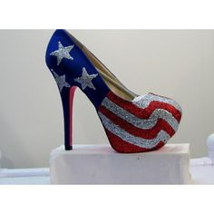 WOMENS Kustom Made to Order AMERICAN FLAG .. Heels All Sizes 5.5 - 10