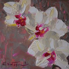 Orchid 2 - Paintings by Elena Katsyura: February 2013 Oil Painting Flowers, Oil Painting Abstract, Floral Paintings, Acrylic Paintings, Oil Paintings, Impressionist Art, Impressionism, Beautiful Paintings, Art Oil