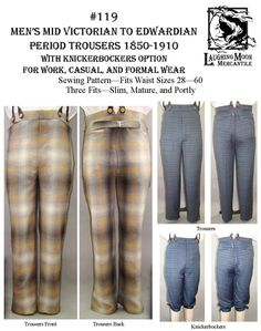Mens Trousers Pattern 1850-1910 by laughing moon $19.50