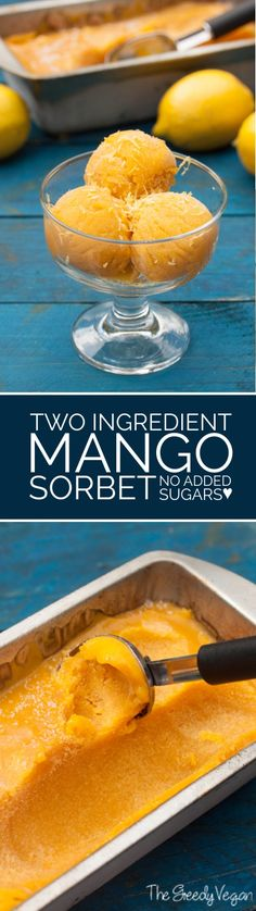 This vegan mango sorbet without added sugar is a perfect treat for those warm summer nights. It uses ripe mangoes and lemon juice to make the perfect dessert.  #vegan #glutenfree