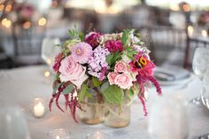 wildflower centerpiece in clustered mason jars by holly chapple