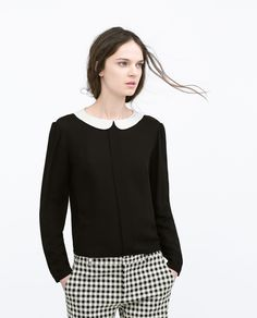 BLOUSE WITH CONTRASTING COLLAR from Zara