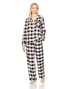 Mae Women s Cozy Flannel Notch Collar Pajama Set with Piping f0a50dee7
