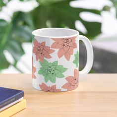 'Echeveria in pink and green ' Mug by Amanda D-Hay Green Mugs, Echeveria, Pink And Green, Ceramics, Art Prints, Printed, Tableware, Awesome, People