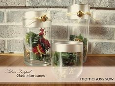 mama says sew: Silver Topped Glass Hurricanes