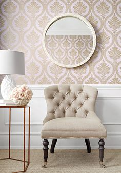 Possible accent wall wallpaper....Thibalt Clessidra Damask from Damask Resource 4