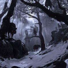 """""""Nunca vá ao norte da Floresta da Lua caro iniciado... As matilhas negras dominam aquelas terras, e por lá, não somos os caçadores, mas sim a caça...""""  Cão - Membro da Confraria de Caça"""
