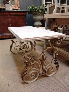 1950 French Vintage Mid-Century Modern Fer Forge Iron Coffee Table with Marble Top Marble Top Coffee Table, Iron Coffee Table, Iron Table, Iron Furniture, Painted Furniture, English Decor, Affordable Furniture, Wrought Iron, Interior Design Living Room