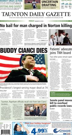 The front page of the Taunton Daily Gazette for Friday, Jan. 29, 2016.