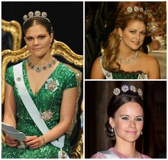 Swedish Princesses in the Four Button Tiara- Victoria in 2012, Madeleine in 2009, Sofia in 2016