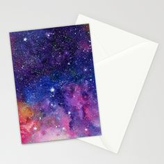 Galaxy Watercolor Stationery Cards by Miss L In Art | Society6