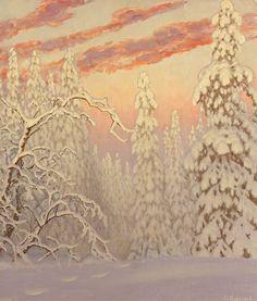 Gustaf Adolf Christensen Fjæstad (1868-1948) — Winter Landscape  under Crimson Sky (1361×1600)