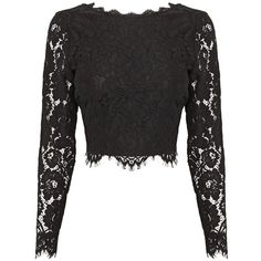 Coast Sardinia Lace Top , Black ($105) ❤ liked on Polyvore featuring tops, black, button back top, floral tops, floral crop top, lace crop tops and floral print crop top