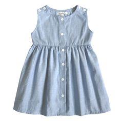 Button dress - blue cotton