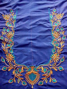 trendy Ideas for embroidery blouse aari Kurti Embroidery Design, Embroidery Works, Embroidery Fashion, Hand Embroidery Designs, Applique Designs, Embroidery Patterns, Cutwork Embroidery, Blouse Patterns, Best Blouse Designs