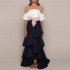 Vintage Design Ruffles Long Skirt Wide Pink Bow Waist A Line Floor Length Tiered Maxi Skirt Personalized Black Women Skirts