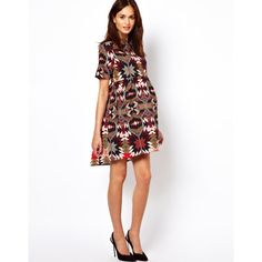 ASOS Maternity Smock Dress in Aztec Print ($57) ❤ liked on Polyvore   This makes me want to be pregnant again!