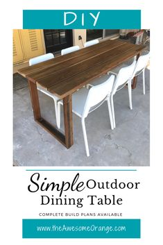 Simple Outdoor Dining Table — the Awesome Orange DIY Simple Outdoor Dining Table - Complete Build Plans Available!DIY Simple Outdoor Dining Table - Complete Build Plans Available! Patio Diy, Diy Outdoor Table, Diy Outdoor Furniture, Outdoor Dining Set, Diy Furniture Plans, Patio Table, Diy Table, Outdoor Decor, Diy Furniture Table