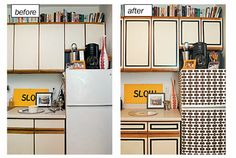 Okay, maybe not this look, but I love the idea of wallpapering a fridge and using black tape to trim the cabinets.