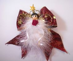 Lily, Christmas Angel, Handmade, Christmas Tree, Xmas Angel, Feather Angel, Christmas Tree Ornament, Holiday Ornament, Victorian Angel by angelsofheaven. Explore more products on http://angelsofheaven.etsy.com