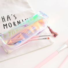 Carry your beauty essentials or stationery in style!  . Holographic pencil case/makeup pouch .