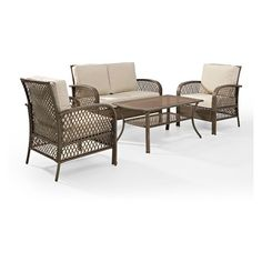 4pc Tribeca Outdoor Wicker Seating Set Sand - Crosley : Target