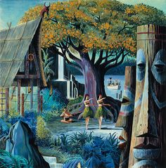 "Disneyland Tahitian Terrace Publicity Illustration    Artist: Paul Hartley, 1962.    Image from the 1996 Anaheim Museum exhibit ""Tiki: Native Drums in the Orange Grove"", a survey of Polynesian Pop-style in Orange County, California. Curated by Los Angeles artists Kevin Kidney and Jody Daily."