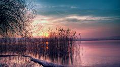 Twilight beautiful landscape, quiet lake, reed, sunset wallpaper 1600x900
