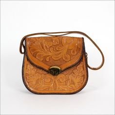 tooled leather purse / structured hobo bag / floral by OmniaVTG, $65.00