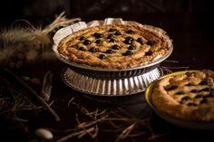 Apple pie sprinkled with blueberries
