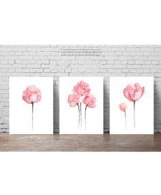 Ensemble de trois fleurs de pivoine Shabby Chic aquarelle peinture, décor de mur Floral nurserie rose, peinture aquarelle, set 3 Art Print Poster pivoines