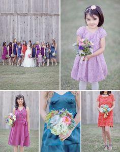 Jewel tones - bridesmaids & flower girl style - Whimsical Tennessee Ranch Wedding: Lialah + Daniel