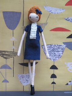 Sarah Strachan's delightful, new girls -     Jackie, Peggy, Ida and Dorothy have everything that a fine young lady growing up in the 50's and 60's could possibly desire, including handpainted Lucienne Day-inspired outfits and beehives