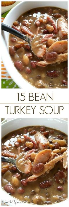 Perfect for leftover Thanksgiving turkey and also easy to make with smoked turkey wings or Bean Turkey Soup! Perfect for leftover Thanksgiving turkey and also easy to make with smoked turkey wings or legs. 15 Bean Soup, Bean Soup Recipes, Crockpot Recipes, Cooking Recipes, Chili Recipes, Yummy Recipes, Seafood Recipes, Chicken Recipes, Leftover Turkey Recipes