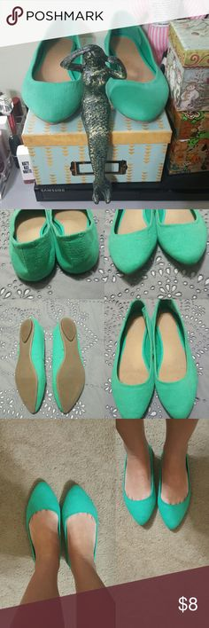 Mint green flats! Super cute and worn twice lightly. No scuffs. Nice suede like material. Add a splash of color and class to any outfit! Old Navy Shoes Flats & Loafers