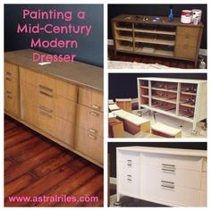 "#DIY project. Painting a Mid Century Modern dresser using Behr ""Silky White"" paint.  www.astralriles.com"